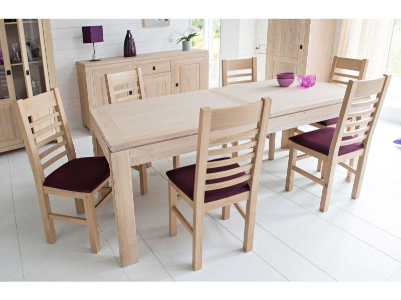 Table moderne extensible boston bois ch ne blanchi for Table de chevet malm chene blanchi