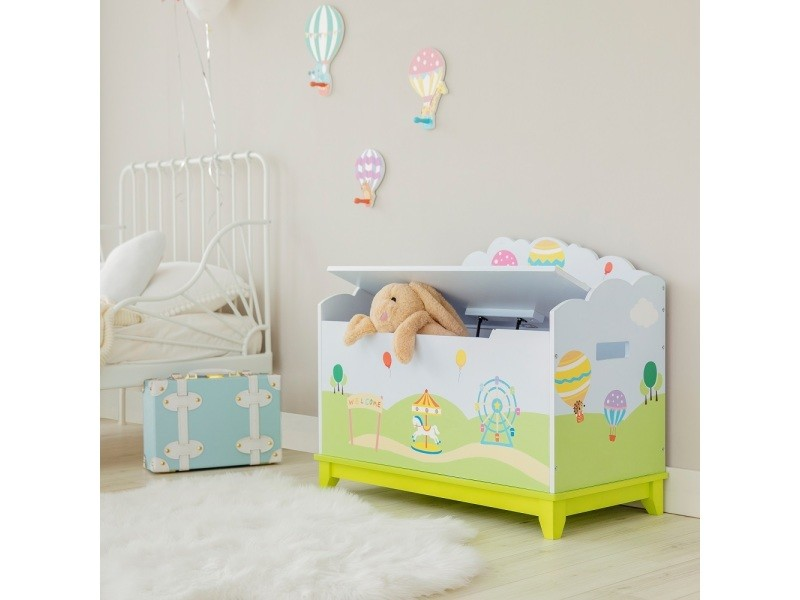 Coffre à jouets montgolfière en bois chambre d\'enfant bleu ...