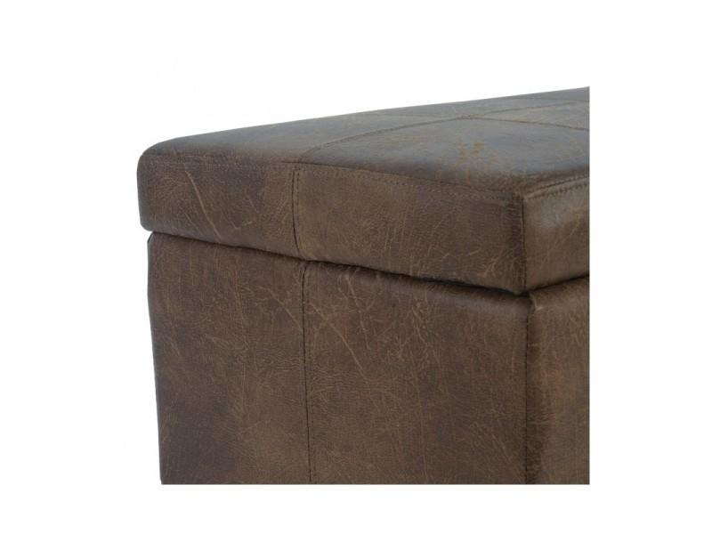 banc banquette coffre de rangement similicuir marron vieilli 112x45x45cm ban04005 vente de. Black Bedroom Furniture Sets. Home Design Ideas