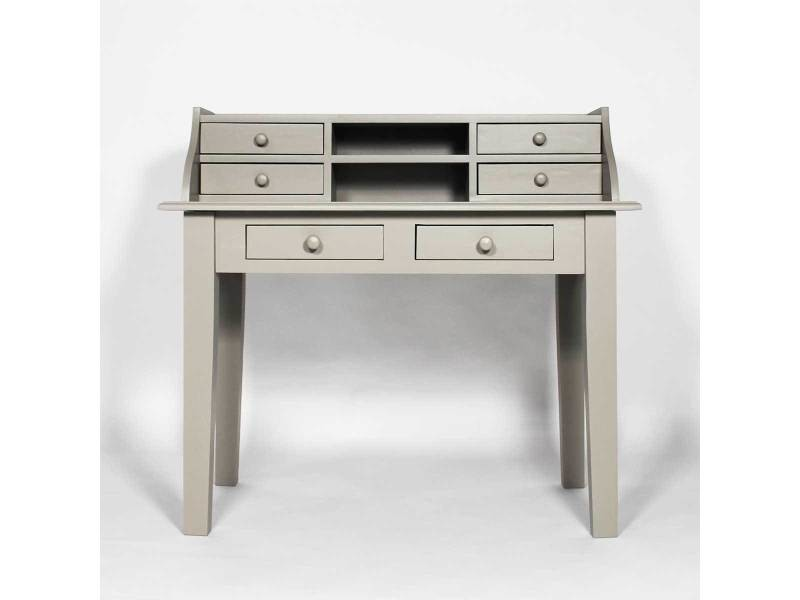 meuble bureau 6 tiroirs en pin massif n132 gris clair. Black Bedroom Furniture Sets. Home Design Ideas