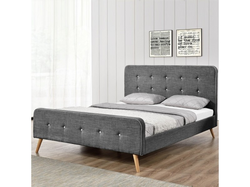 lit scandinave gris tailles 160x200 vente de meubler design conforama. Black Bedroom Furniture Sets. Home Design Ideas