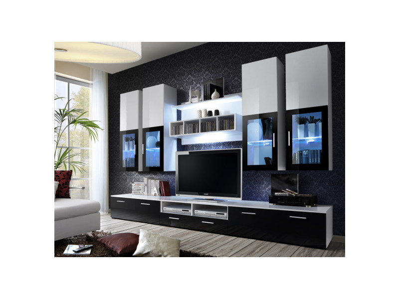 Ensemble meuble tv mural - lyra - 300 cm x 190 cm x 45 cm - blanc et noir