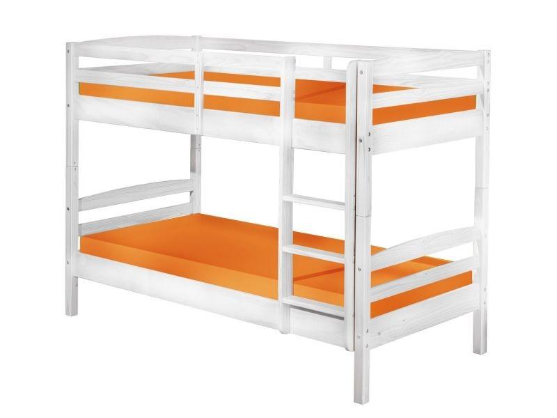 lit superpos 90x190 en bois massif coloris blanc vente de comforium conforama. Black Bedroom Furniture Sets. Home Design Ideas