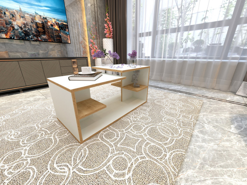 Table basse design rising blanc et motif bois chene vieilli