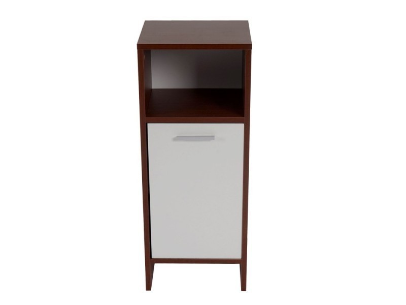 meuble de salle de bain commode 82x32x28cm blanc marron sdb04007 conforama. Black Bedroom Furniture Sets. Home Design Ideas