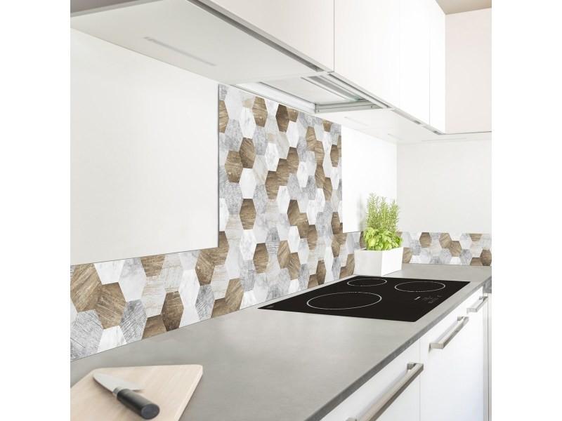 Crédence cuisine aluminium mix and match - lot de 2 l90xh20cm