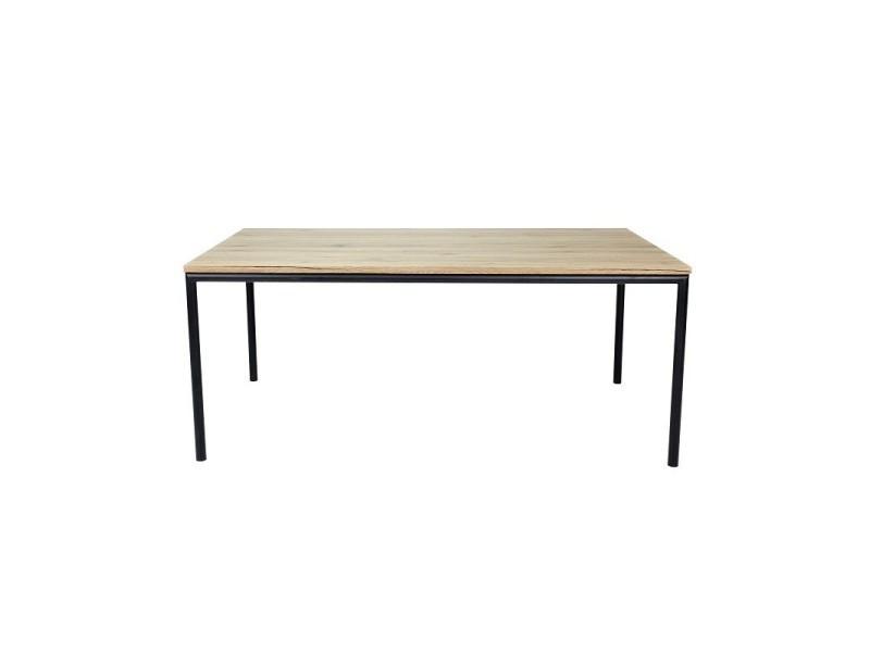 Table 180 cm mozes - plateau mdf effet bois naturel et pieds ronds en métal noir.