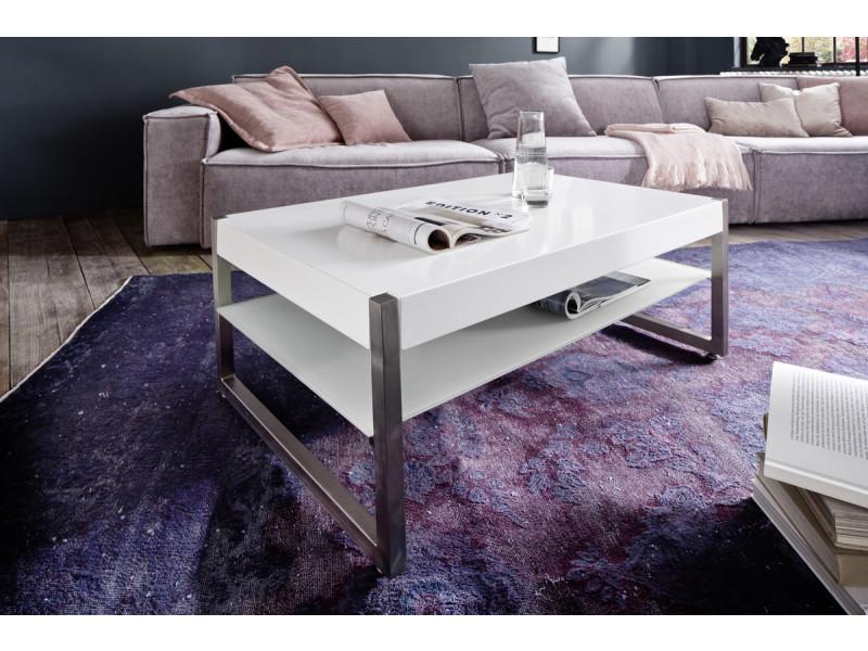 Table basse en verre et métal coloris laqué blanc mat - l105 x h38 x p65 cm -pegane-