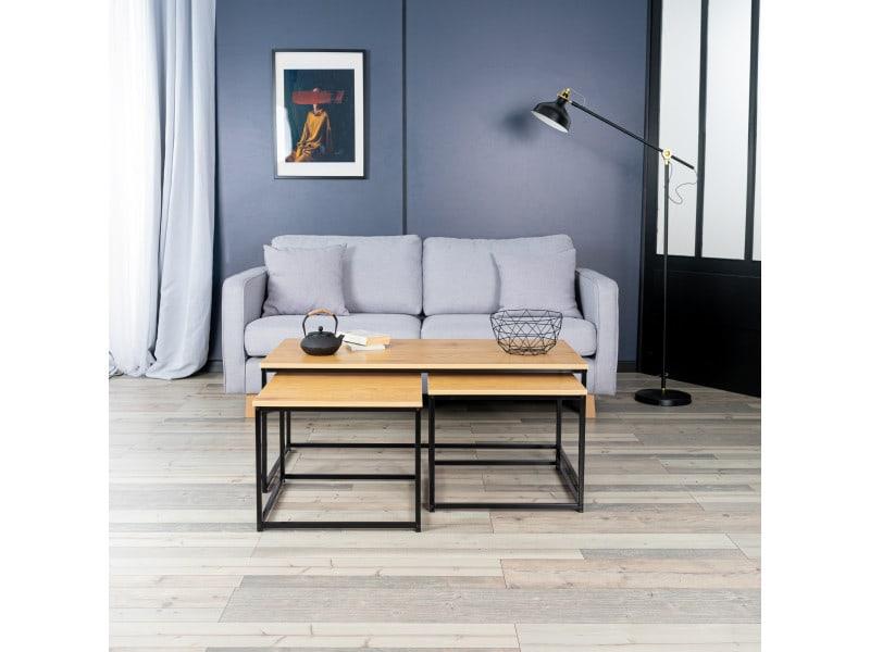 3 tables basses rectangulaires gigognes bois noyer design industriel