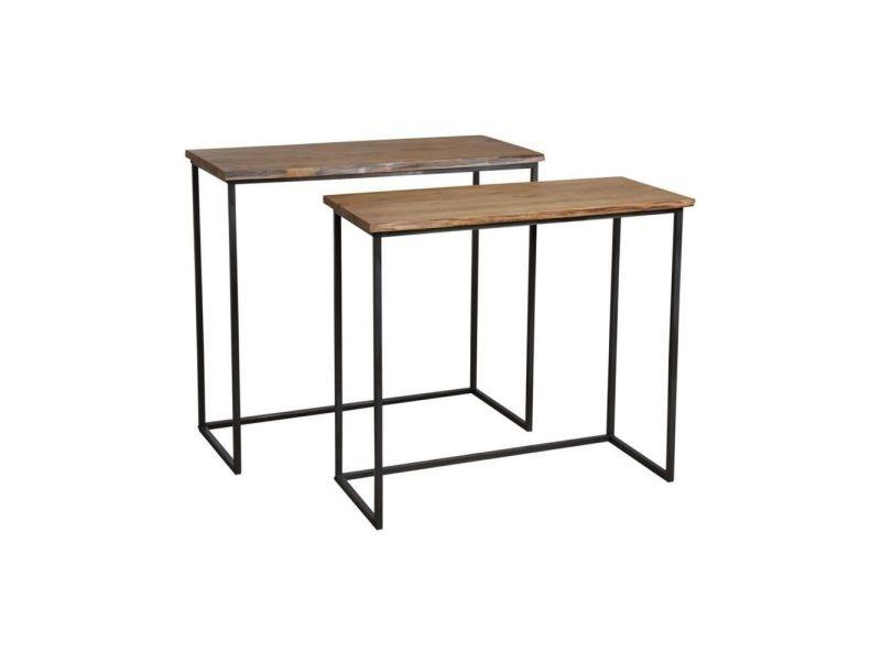 Consoles en bois et métal ubi (lot de 2)