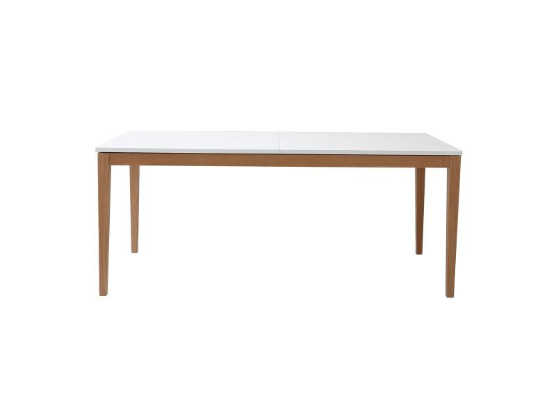 Table à manger design extensible blanche pieds bois l180-260 delah