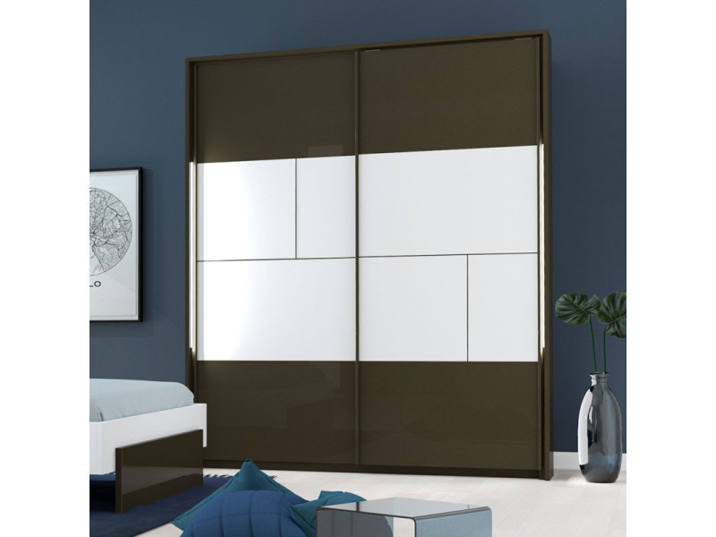 Armoire 2 portes coulissantes à leds gris anthracite/blanc - florine - l 190 x l 61 x h 219 - neuf