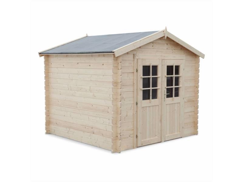 Abri de jardin landes en bois fsc de 6,37m², structure en madriers, sapin séché