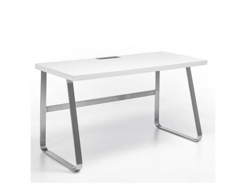 Bureau beata laqué blanc mat piétement métal brossé 20100889784