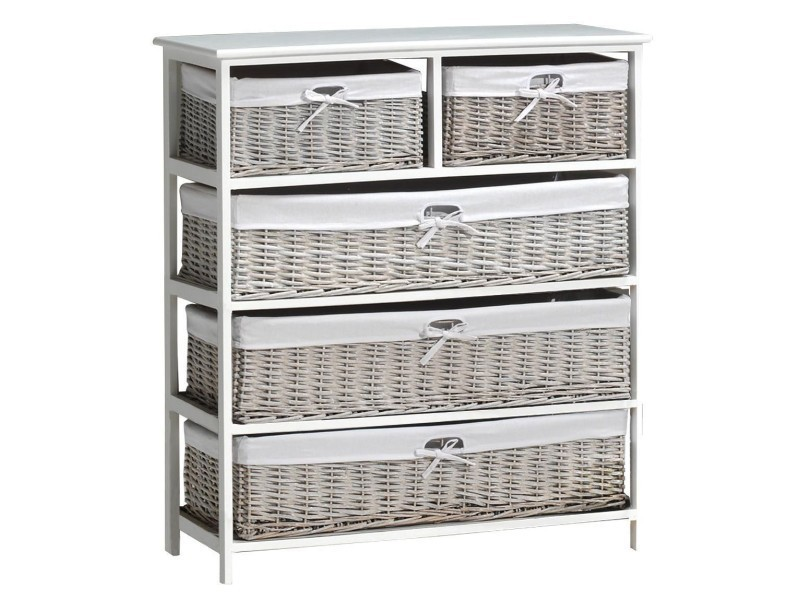 meuble d 39 appoint avec 5 tiroirs en rotin coloris blanc conforama. Black Bedroom Furniture Sets. Home Design Ideas