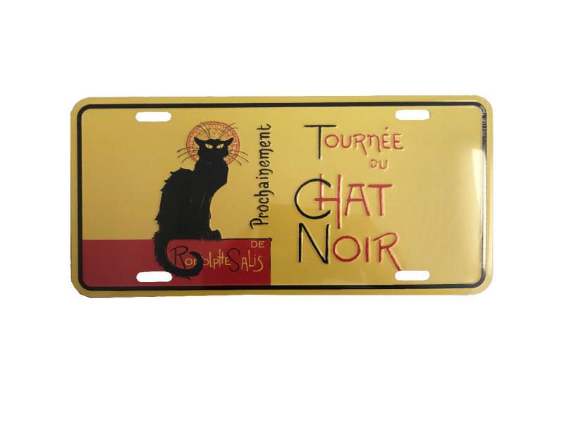 Plaque décorative métallique le chat noir