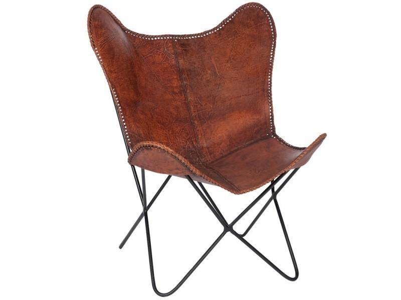 Chaise Lounge Cuir Marron