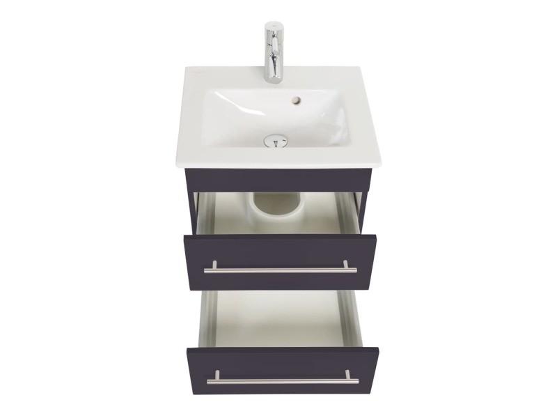meuble sdb avec vasque de villeroy boch venticello 50 cm 2 tiroirs anthracite. Black Bedroom Furniture Sets. Home Design Ideas