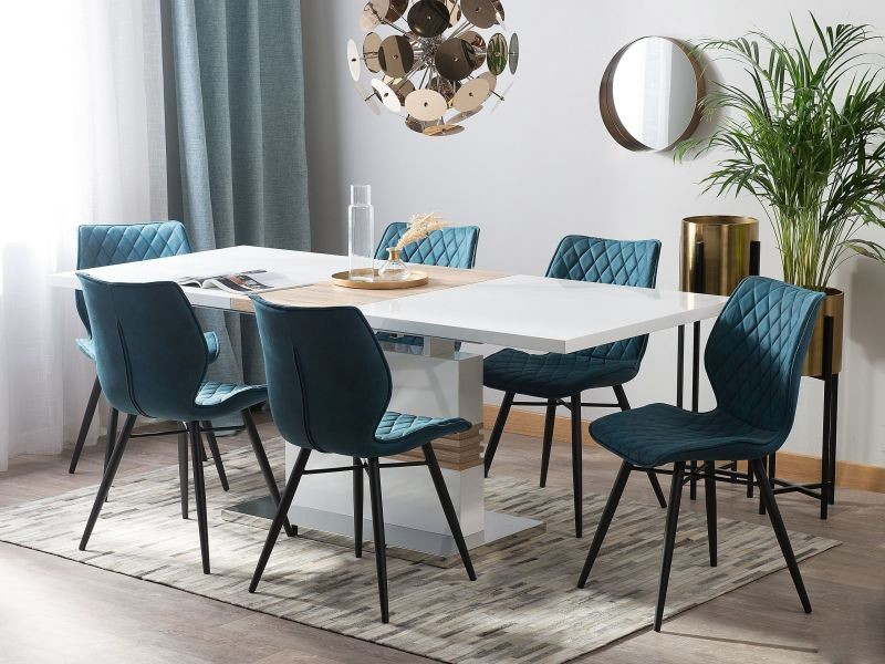 Table blanche et marron 160/200 x 90 cm santana 129574