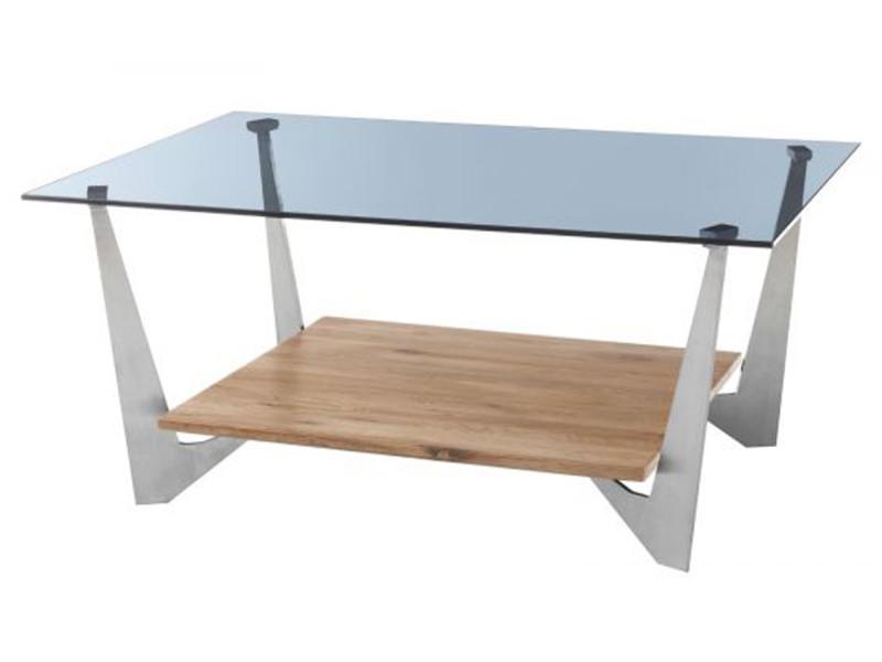 Table basse avec rangement en chêne massif huilé et verre gris - l.90 x h.40 x p.60 cm -pegane- PEGANE