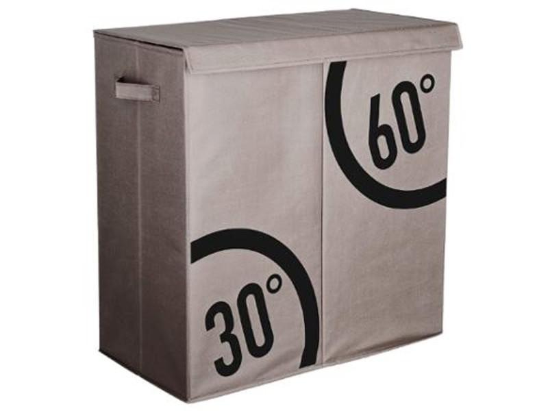 Panier à linge double bacs dutri - l 60 x p 30 x h 60 cm - polyester - gris