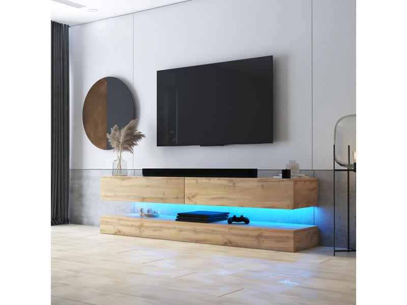 Meuble Tv Suspendu Hylia 140 Cm Chene Wotan Avec Led Style Moderne Vente De Meuble Tv Conforama
