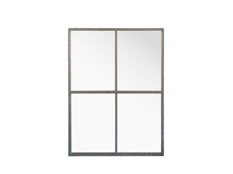 Marcel   Miroir Fenêtre Style Industriel 90x120   Couleur   Zinc