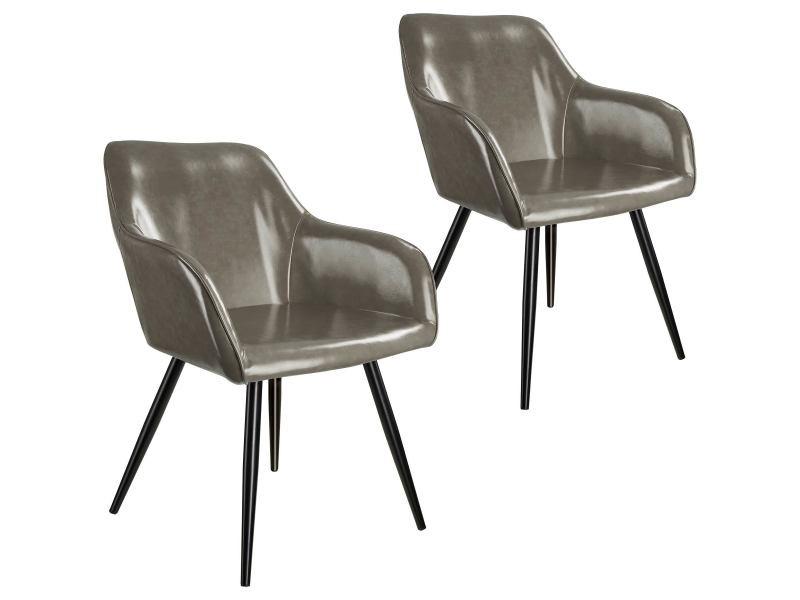 Tectake 2 chaises marilyn en cuir synthétique - gris foncé-noir 404114
