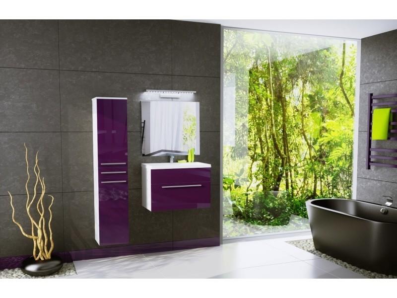 Salle de bain aquatic - 3 éléments -aubergine laqué et blanc mat ...