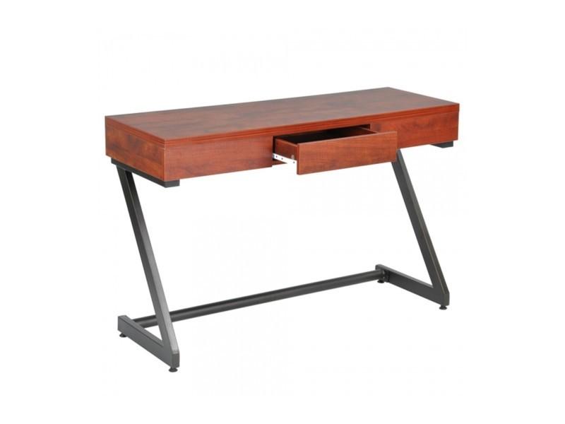 Bureau en bois foncé et métal avec tiroir coulissant vente de