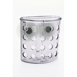 Porte brosse à dent de salle de bain ventouse - galet - gris transparent