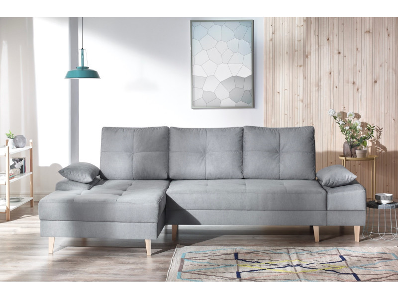 canape d 39 angle convertible sven ii gauche pieds bois enjoy gris clair 5906395169771 vente de. Black Bedroom Furniture Sets. Home Design Ideas