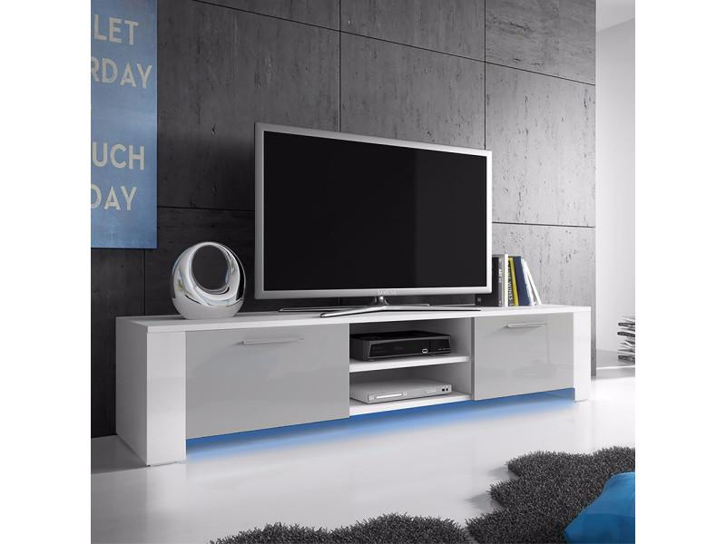 info pour d19c6 b746f Meuble tv - GOAL - 166 cm - blanc mat / gris brillant ...