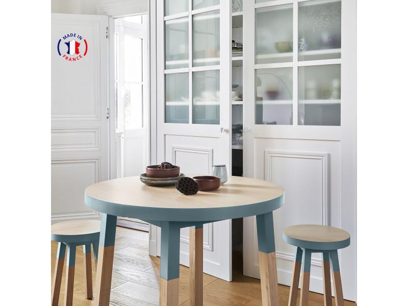 Table ronde 100% frêne massif 90x90 cm bleu briac - 100% fabrication française