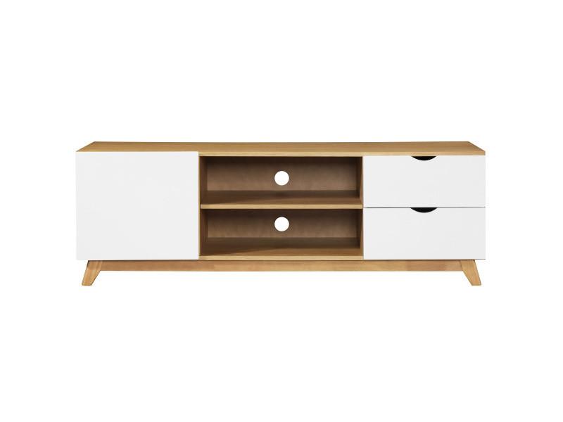 Meuble tv scandinave blanc et bois clair neela