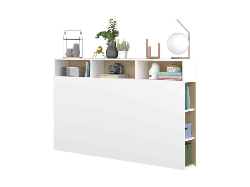 Tête de lit avec niches de rangement en bois blanc et imitation chêne naturel - tl9052