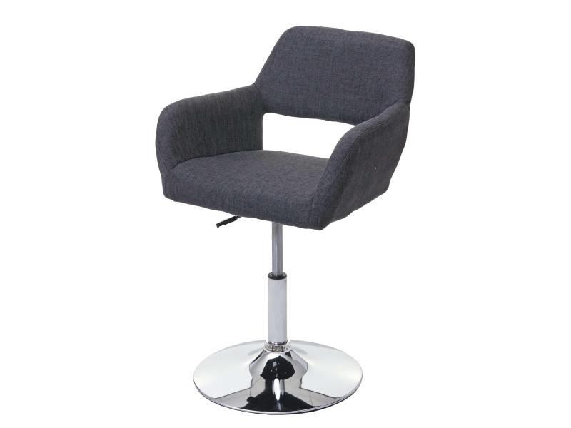 Chaise de salle à manger hwc-a50 iii, style rétro années 50, tissu ~ gris foncé, pied en métal aspect chromé