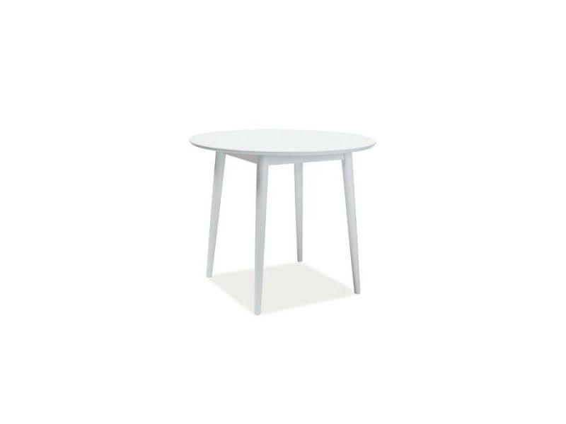 Larsun - table design de style scandinave - 90x90x75 cm - plateau rond en bois mdf - piètement en bois - blanc