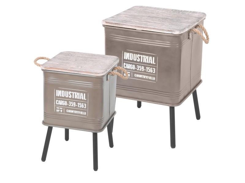 2 tables d'appoint design industriel loft - taupe