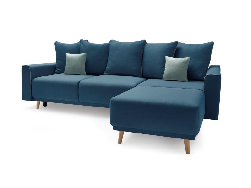 Canape d'angle droit convertible mola avec meridienne bleu marine