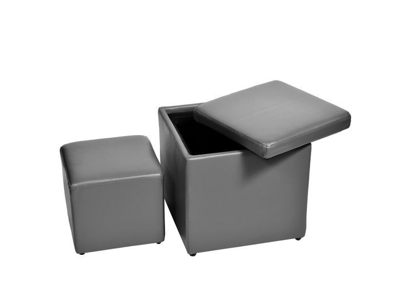 2 poufs carrés gris encastrables vivaldi- - Vente de Pouf ...