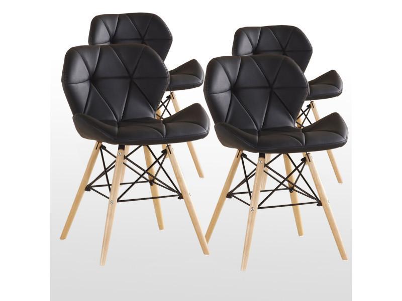 Lot de 4 chaises design en simili cuir noires - cecilia eiffel