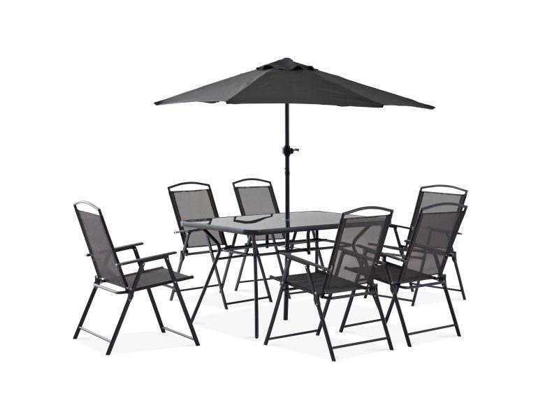 Table de jardin 6 places et parasol - Vente de Table - Conforama