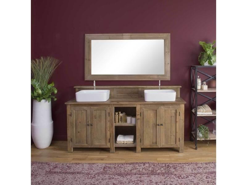 meuble salle de bain bois massif 2 vasques 4 portes 2 niches kh27 naturel conforama. Black Bedroom Furniture Sets. Home Design Ideas
