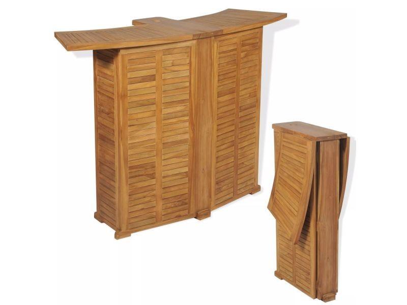 Esthetique meubles de jardin selection riga table de bar d'extérieur teck 155 x 53 x 105 cm
