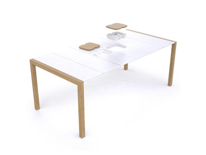 Table De Jardin En Resine 190x100cm Pour 8 A 10 Personnes 2 Bacs