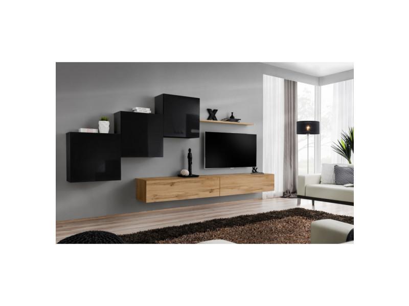 Ensemble mural - switch x - 3 vitrines carrées - 2 bancs tv - 1 étagère - bois et noir - modèle 2