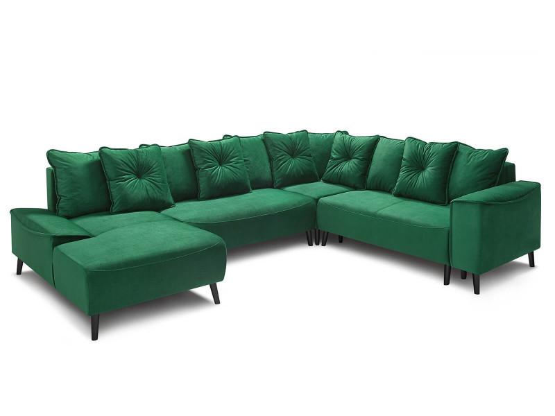 Canape d'angle panoramique xxl gauche convertible hera pieds noirs vert