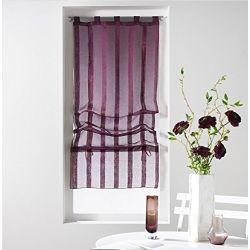 Un store droit à passant - rideau voile sable raye malta prune 45 x 180 cm