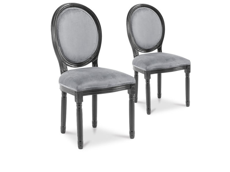 Lot de 2 chaises médaillon louis xvi velours gris - Vente